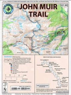 John Muir Trail Map-Pack: Shaded Relief Topo Maps (Tom Harrison Maps) - Products Lists of Tools and Hardware Thru Hiking, Hiking Trails, Hiking Maps, Tuolumne Meadows, John Muir Trail, Pacific Crest Trail, Pacific Coast, Pacific Northwest, Sequoia National Park