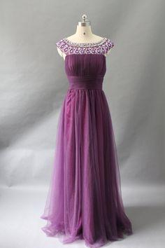 Custom Long Chiffon Dress with Beaded Collar by LizzyZeeDresses
