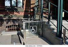 Wheelchair lift in building Stock Photo Brutalist, Stock Photos, Building, Illustration, Buildings, Illustrations, Construction