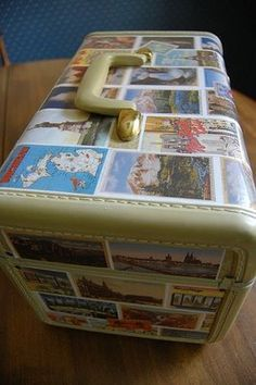 Clever Karen: Postcard Train Case - she scanned her vintage postcards and then mod podged the whole Vintage Suitcases, Vintage Luggage, Vintage Travel, Vintage Trunks, Diy Arts And Crafts, Diy Crafts, Decoupage Furniture, Decoupage Suitcase, Painted Furniture