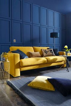65 Beautiful Yellow Sofa for Living Room Decor Ideas – Insidexterior – Sofa Design 2020 Cozy Living Rooms, Living Room Sofa, Living Room Decor, Teal Room Decor, Yellow Sofa, First Apartment Decorating, Blue Walls, Pallet Furniture, Antique Furniture