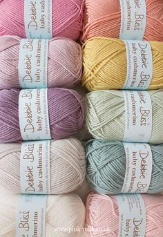 Soft sweet and pretty yarn colours. Wish I had so I could crochet.