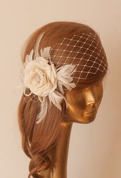 WEDDING BRIDAL Ivory  BIRDCAGE VEIL with Cream Flower Vintage Style by ancoraboutique, $115.00