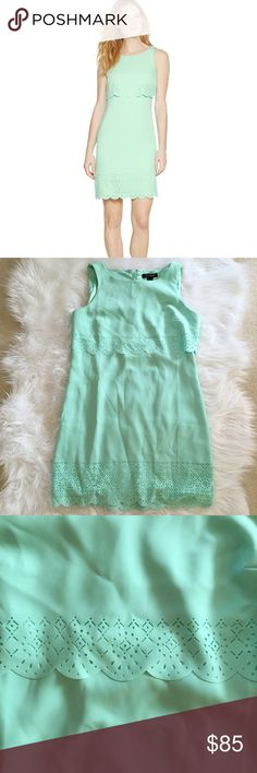 WHBM Teal Scalloped Dress Gorgeous WHBM teal scalloped dress in perfect condition. So adorable! No trades. Bundle & save 5%! 10fvjcvss White House Black Market Dresses
