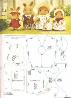 Diy Clothes Patterns, Doll Dress Patterns, Sewing Patterns, Sylvanian Families, Vbs Crafts, Doll Crafts, Calico Critters Families, Sewing Projects, Sewing Crafts