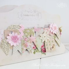 Easy DIY shabby scraps garland by Shabby Art Boutique. Click for quick and easy tutorial ir PIN for use later.