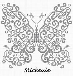 Stickeules Freebies: lots of cute cross stitch freebies Butterfly Cross Stitch, Cross Stitch Bird, Cross Stitch Animals, Cross Stitch Charts, Cross Stitch Designs, Cross Stitching, Cross Stitch Patterns, Butterfly Pattern, Diy Embroidery