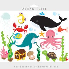Bajo el mar prediseñadas de mar peces algas delfines