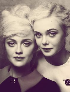 Wonderful portrait of the Fanning sisters, Dakota and Elle by Craig McDean for Vogue US, August 2011.  The original image was shot in color.