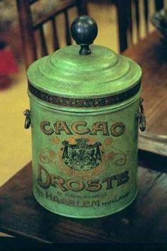 old green Droste cocoa tin