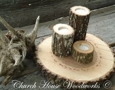 3 Tree Branch Candle Holders Rustic Weddings Country Decor Cabins Log   eBay