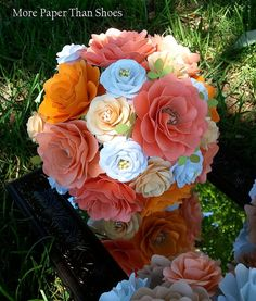 Paper Flower Wedding Bouquet - Salmon and Tangerine- Bride or Bridesmaid - Custom Made - Any Color via Etsy Spring Flower Bouquet, Spring Flowers, Wedding Cakes With Flowers, Wedding Bouquets, Multicolor Wedding, Wedding Prep, Clay Flowers, Flower Making, Bouqets