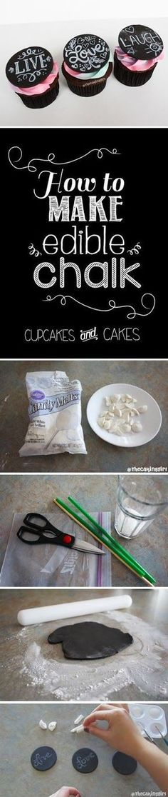 How to make edible chalk - chalk cupcake designs - chalk cake designs. With wilton candy and edible food coloring. Step by step instructions tutorial guide. Fondant/Gumpaste. http://www.thecakinggirl.ca
