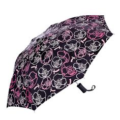 Floral and ribbon pattern umbrella with a high-quality push-button mechanism. Black umbrella that changes color when wet. Colors change to light pink, dark pink, and white. Shop my Avon store at www.youravon.com/dtamplain