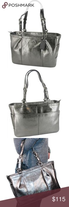 """Coach metallic bag Silver GALLERY Authentic COACH 17721 GALLERY TOTE 12"""" x 9"""" METALLIC SILVER PEWTER LEATHER Shoulder Bag This classy and stylish handbag is perfect for a special night out or everyday use. This top quality, genuine leather is beautiful and soft to the touch! The interior boasts three multifunction pockets, two of which are open and are perfect size for a cell phone and camera. The third  is perfect for personal items and necessities. no visible signs of wear on outside…"""