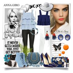 """Dark & light blue"" by annagiro ❤ liked on Polyvore featuring Marni, Gucci, Tory Burch, ElleSD, Gianvito Rossi, Topshop, Dolce&Gabbana, Scala, Lizzie Fortunato and Rimini"