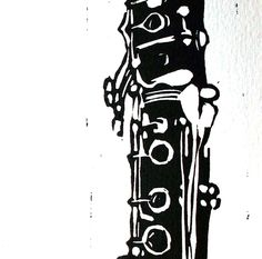 CLARINET - linocut print on fabriano card, blank inside