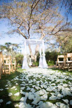 Simply elegant aisle at this San Diego Zoo Safari Park wedding.
