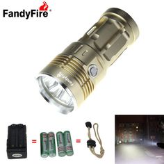 FandyFire 4-LED 4000lm Cool White 5-Mode Super Bright Flashlight - Golden (4x18650). . Tags: #Lights #Lighting #Flashlights #LED #Flashlights #18650 #Flashlights