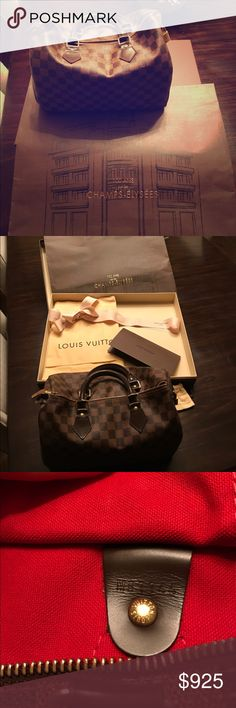 Louis Vuitton Damier Ebene Canvas Speedy 30 bag I bought this classic LV speedy 2 years ago in Paris at the flagship Champs Élysées store. I kept the beautiful bag and box it came in because I'm sentimental like that. Everything is included in the price :) Louis Vuitton Bags Totes