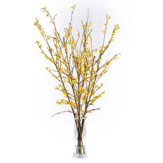 Very pretty Yellow Forsythia Faux Flower Arrangement in Soft Peach Color.  Free shipping!
