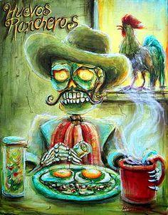Dia De Los Muertos Wall Art - Painting - Huevos Rancheros by Heather Calderon Mexican Paintings, Great Paintings, Mexican Artwork, Canvas Art, Canvas Prints, Art Prints, Canvas Paintings, Framed Prints, Lowrider Art