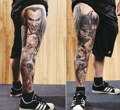 This tattoo clearly expresses the love towards Batman and it is a lifelong love, wherein the tattoo and its design prevail on the body of a fan for a long time. Here are 35 Batman tattoo designs for both men and women. Dope Tattoos, Best Leg Tattoos, Tattoos Arm Mann, Cool Tattoos For Guys, Future Tattoos, Body Art Tattoos, Wrist Tattoos, Tatoos, Leg Sleeve Tattoo