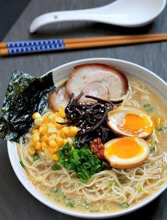 my bare cupboard: Tonkotsu ramen with chashu ( Japanese braised pork belly ) and ajitsuke tamago ( marinated soft-boiled egg )