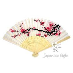 "Cherry Blossom Silk Folding FansPSF2013  Our Cherry Blossom Silk Folding Fans measure 8"" in length and 14 1/2"" in width when fully opened! Great for oriental wedding and party favors and to keep guests cool for any occasion! Our white silk hand fans are quality hand crafted with an intricate design on natural bamboo ribbing  12 Pack $16.70      Price: $1.39"