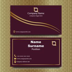 Elegant Maroon And Gold Business Card Luxury Business Cards, Gold Business Card, Business Logo, Identity Branding, Corporate Identity, Visiting Card Templates, Golden Logo, Company Slogans