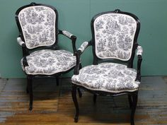 French Toile Chairs  Head of formal dining room table or just at the top of the stairs for a reading corner. either way, i like them a lot