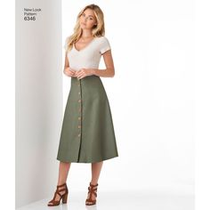 This easy, flared full skirt pattern for Misses' includes midi length or mini skirt with button front closure, and knee length or mini length skirt with back zipper. New Look sewing pattern.