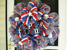 July 4th Patriotic Wreath with striped deco mesh
