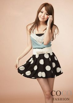 Black Polka Dotted Mini Korean Fashion Summer Skirt