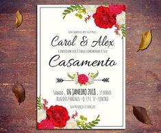 Convite Casamento Floral Red 10x7cm
