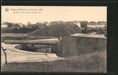 old postcard: Foto-AK Knocke sur Mer, eine der 305 mm Kanonen der Artillerie-Batterie Wilhelm II.