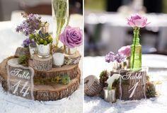 deco-mariage-champetre-numéro-table-arrangement-rondelles-bois-roses-lilas
