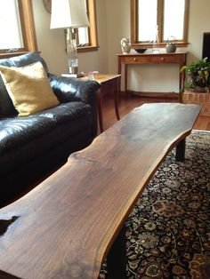 Items similar to Black Walnut slab coffee table on Etsy #table #woodworking