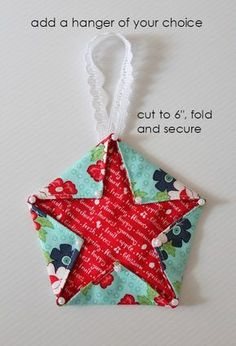 Threadbare Creations- Fabric Star Hangers (Tutorial) - Best Do It Yourself (DIY) Ideas 2019 Fabric Christmas Decorations, Sewn Christmas Ornaments, Folded Fabric Ornaments, Christmas Diy, Homemade Christmas, Diy Ornaments, Star Ornament, Beaded Ornaments, Christmas Cards
