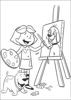 emily is painting clifford coloring page