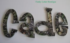 Little Boys Dream Bedroom  Hunting Themed Camo  Mossy Oak Obsession Wall Letters  http://funkyletterboutique.com/item_106/Realtree-Hardwoods-Camo-Wall-Letters.htm