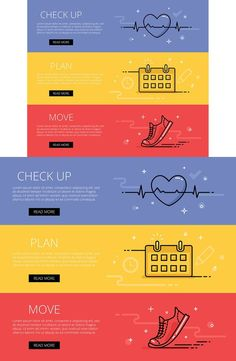 Fitness line vector web banners set