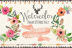 Watercolor flower DIY pack Vol.2 ~ Illustrations on Creative Market