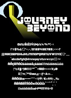 """Strong, stencil style based on the title of the 1975 shock documentary """"Journey Into The Beyond"""" – 261 glyphs, 4 weights. John Carradine, The 1975, Close Your Eyes, Glyphs, Weights, Documentaries, Journey, Cool Stuff, Film"""
