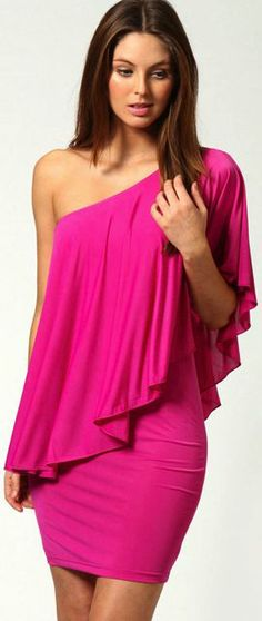 Sexy One Shoulder Rose Colored Dress