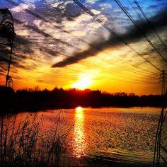 Beautiful sunrise over Waterpark Genseler Hengelo Twente.