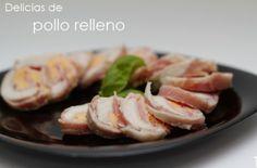 Original pollo relleno de bacon, jamón y queso