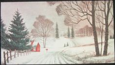 Vintage Christmas Greeting Card Snowy Country Road Norcross
