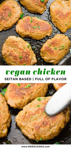 """Vegan """"Chicken"""" is seitan based perfectly flavored and surprisingly easy to make. Chewy meaty and perfect for grilling frying or using anywhere you would chicken! Chicken Seitan Recipe, Vegan Seitan Recipe, Vegan Butter Chicken, Seitan Recipes, Vegan Chicken Recipes, Vegetarian Chicken, Vegan Pot Pies, Vegan Dishes, Vegetarian Recipes Dinner"""