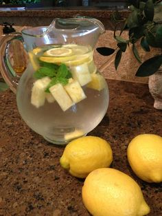Pineapple lemon mint infused water!!! Our new love. Seriously, lemon and pineapple are awesome for weight loss. And both are wonderful for healthy skin. Slice one lemon, add several chunks fresh pineapple and two stems of mint, fill with water and enjoy! When water runs low just refill. Reuse for about 4 days then redo.